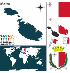 Malta map vector