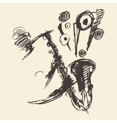 Man playing saxophone drawn sketch vector