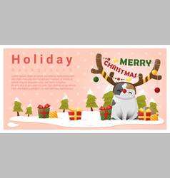 Merry christmas greeting background with cat vector