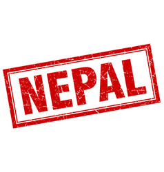 Nepal red square grunge stamp on white vector