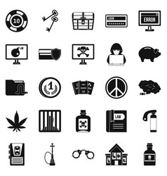 offence icons set simple style vector image
