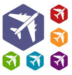 passenger airliner icons set vector image vector image