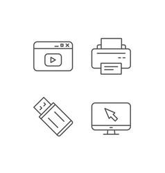 Printer usb flash drive and monitor icons vector