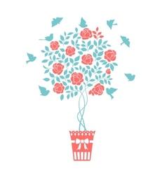 Rose garden bush vector image vector image