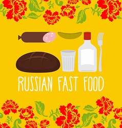 Russian traditional fast food Vodka and sausage vector image vector image