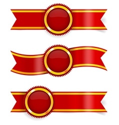 Set of red award ribbons vector