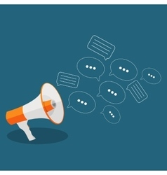Social Media Flat Concept with Megaphone and vector image vector image