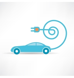 Socket and the car is blue icon vector