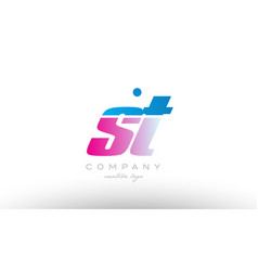 st s t alphabet letter combination pink blue bold vector image