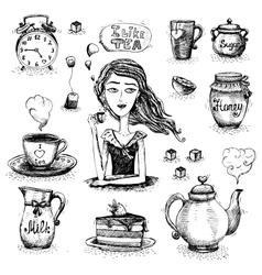 The love of tea scene vector image