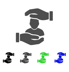 User care hands flat icon vector