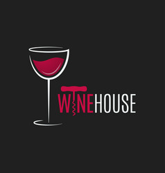 wine glass logo design red and white wine house vector image