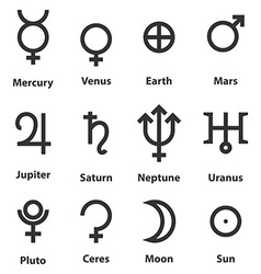 Zodiac and astrology symbols of the planets vector image vector image