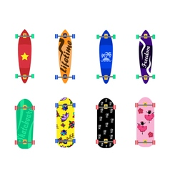 Set of skateboards on white background vector image
