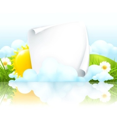 Paper frame in clouds vector