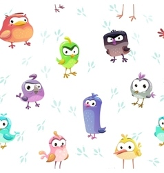 Seamless pattern with funny cartoon comic birds vector image