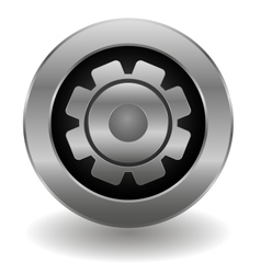 Metallic gear button vector