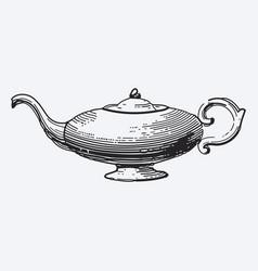 vintage tea pot engraving ephemeral vector image