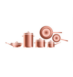 copper utensils for professional kitchens of vector image