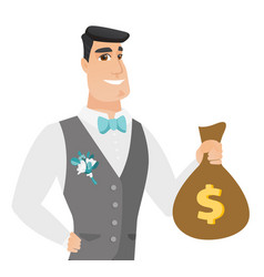 Young caucasian groom showing a money bag vector