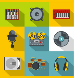 music stuff icon set flat style vector image