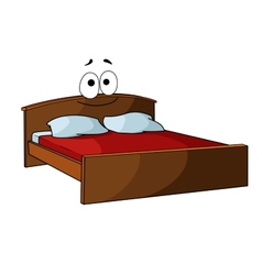 Wooden double bed with bed linen vector