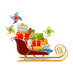 Sled with gifts vector