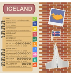 Iceland infographics statistical data sights vector