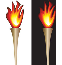 Torch with flame isolated in white black vector