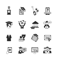 Graduation icons black vector