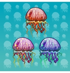 Three color spotted jellyfish vector
