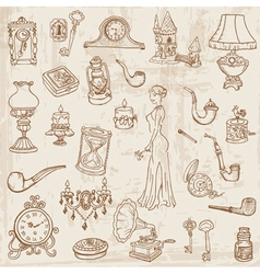 Vintage doodle elements vector
