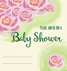 Baby shower card with watercolor flowers vector