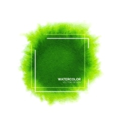 Abstract green watercolor background with frame vector image vector image