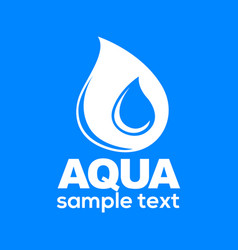 aqua drop sign isolated on blue background vector image