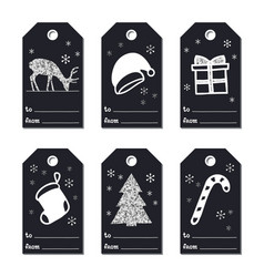 christmas new year gift tags cards xmas silver vector image