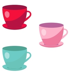 Colorful cups isolated on white background vector
