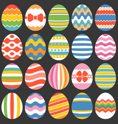 Colourful easter eggs flat design set 1 vector