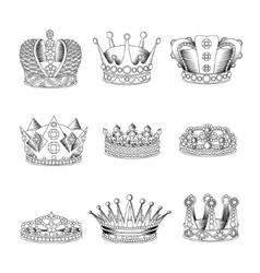 Crown sketch icon set vector