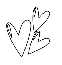 Cute heart love comic symbol line vector