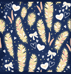 Feathers with pink bows seamless pattern vector