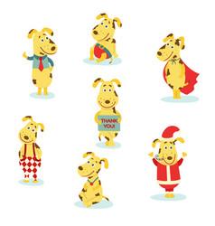 Flat cute dog characters set vector
