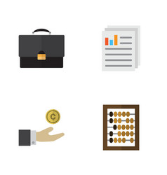 Flat exchequer set of hand with coin counter vector
