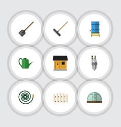 Flat icon farm set of bailer stabling hothouse vector