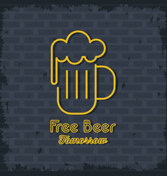 free beer neon lights icon vector image