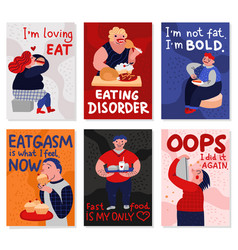Gluttony cards set vector