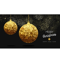 Gold Christmas and New Year low poly bauble vector image