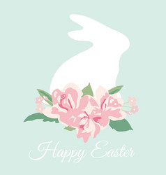 happy easter card with bunny and flower bouquet vector image
