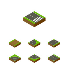 Isometric road set of upwards pedestrian vector