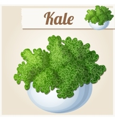 Kale in bowl detailed icon vector